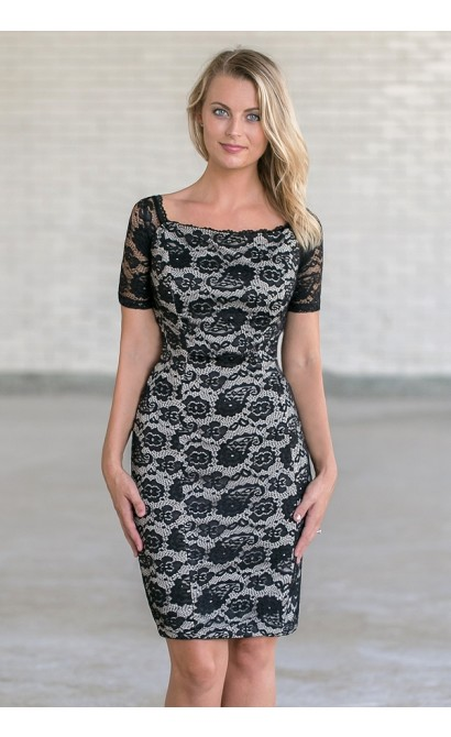 Lace Luxe Fitted Dress in Black/Beige