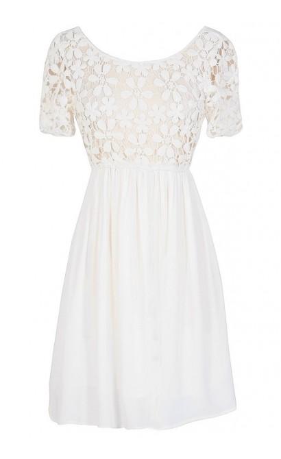 Flower Web Crochet Lace Dress in Ivory