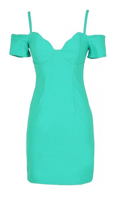 Cold Shoulder Bodycon Bustier Dress in Jade