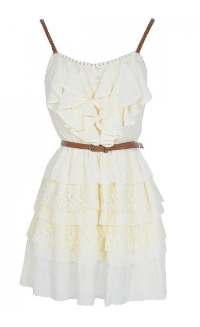 Nashville Nostalgia Belted Ruffle Dress in Ivory