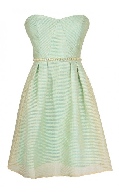 Pearls and Stripes Strapless Designer Dress in Mint