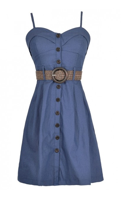 Button Down Delight Belted Dress in Blue