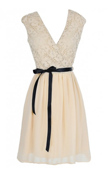Faithfully Yours Lace and Chiffon Sash Dress in Cream/Black