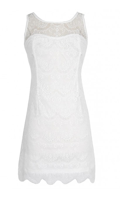 Sleeveless Lace Overlay Dress in White