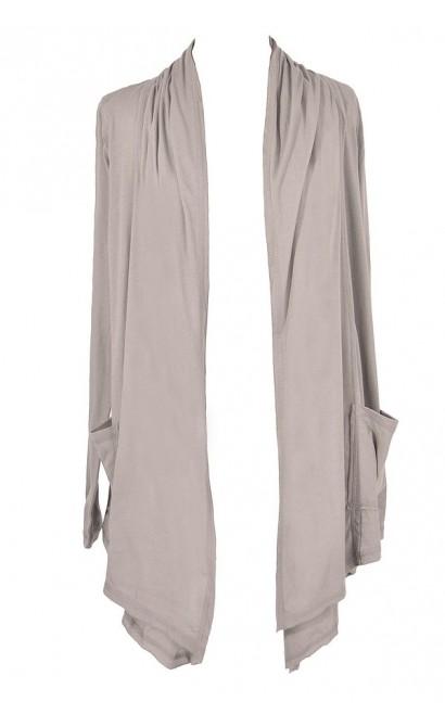 Cozy Up Open Longline Cardigan in Hazy Grey