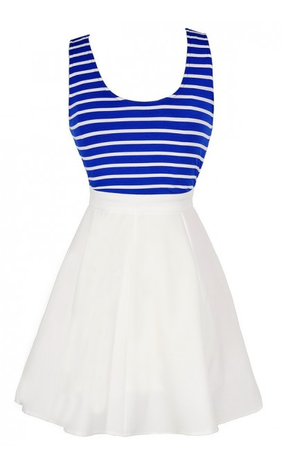 Between The Lines Crossback Stripe Dress in White/Blue