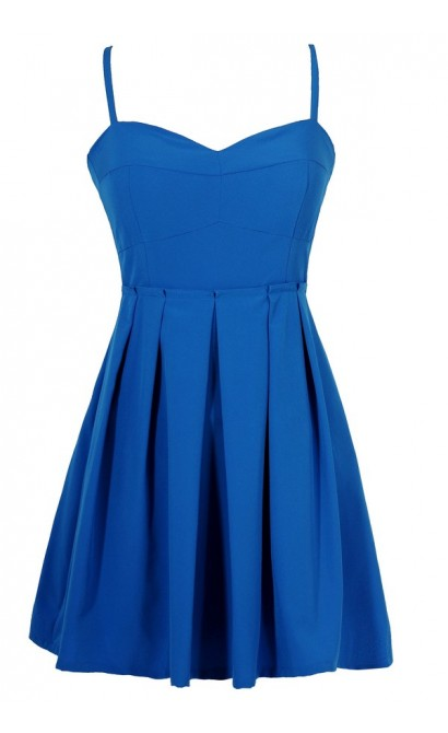 Pleats To Meet You Paperbag Waist Dress in Bright Blue