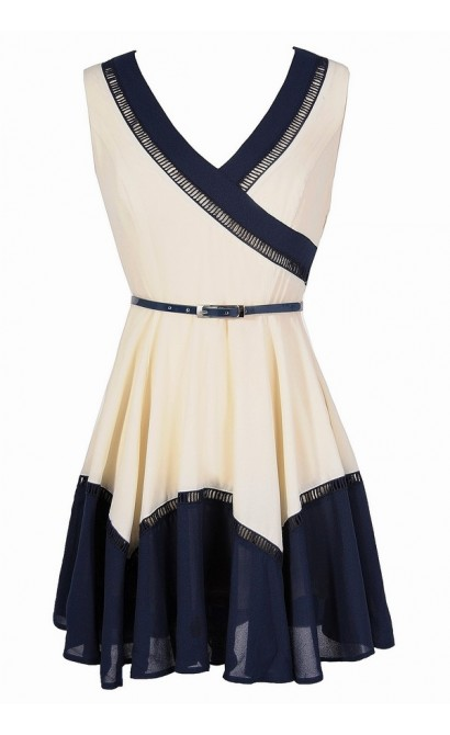 Colorblock Fun Belted Dress in Ivory/Navy