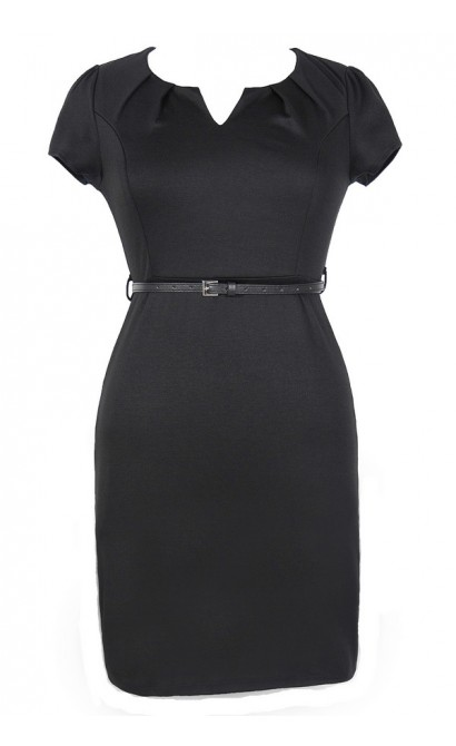 Posh and Professional Belted Pencil Dress in Black - Plus Size