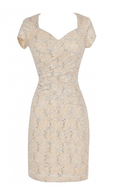 Gathered Sequin and Lace Capsleeve Pencil Dress in Ivory