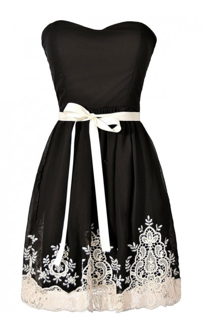 Nataya Black and Ivory Embroidered Strapless Dress