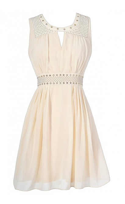 Gold Studded Chiffon Dress in Beige