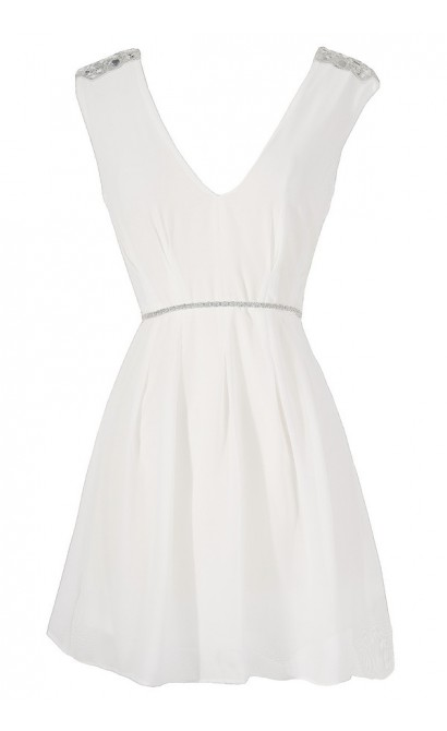 Belted Beaded Shoulder Chiffon Dress in White