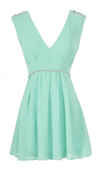 Belted Beaded Shoulder Chiffon Dress in Mint
