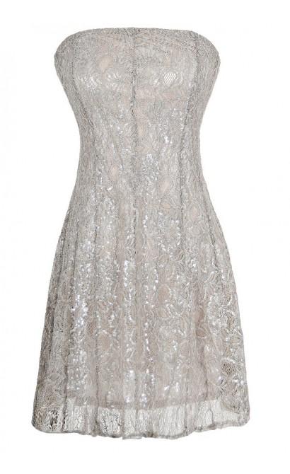 Metallic Angel Strapless Lace Dress in Silver Grey