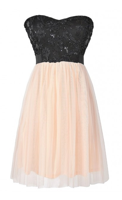 Sequin Textured Lace and Tulle Champagne and Black Dress
