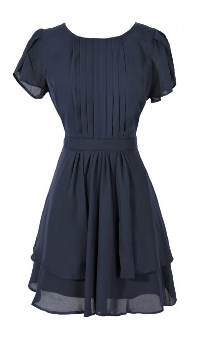 Pleat Front Crossover Sleeve Dress in Navy