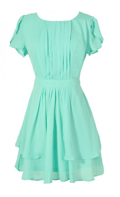 Pleat Front Crossover Sleeve Dress in Mint