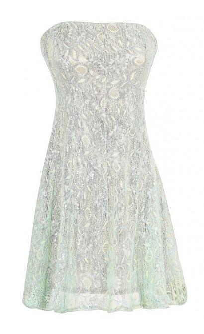 Metallic Angel Strapless Lace Dress in Silver Mint