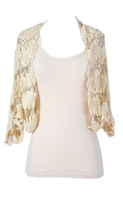 Golden Touch Beige and Gold Crochet Vest