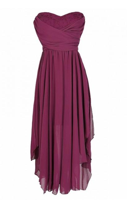 Berry Purple Chiffon and Lace Midi Dress, Berry Purple Chiffon Party Dress