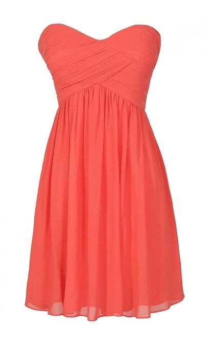 Cute Coral Chiffon Strapless Bridesmaid Dress, Cute Chiffon Coral Party Dress, Coral Chiffon Dress