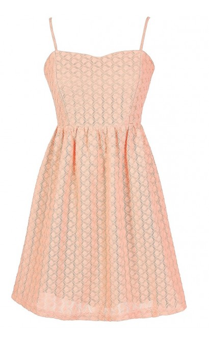 Cute Summer Dress, Cute Juniors Dress, Peach Textured Dress, Cute Peach Bridesmaid Dress