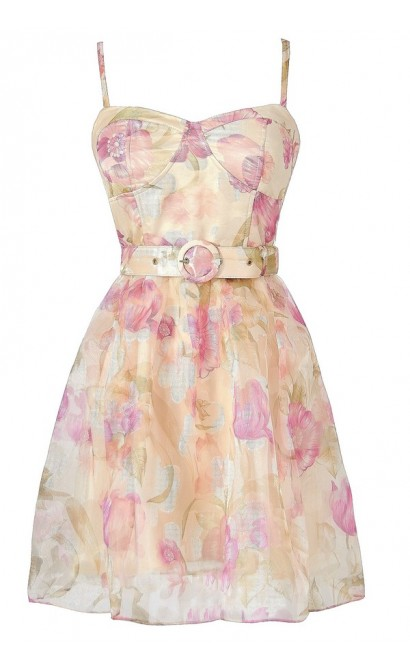 Pink and Ivory Belted Floral Sundress, Pink and Ivory Floral Print Dress, Cute Juniors Dress, Cute Floral Print Dress