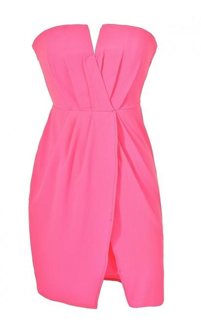 Neon Pink Chiffon Dress, Hot Pink Summer Party Dress, Neon Pink Tulip Skirt Dress