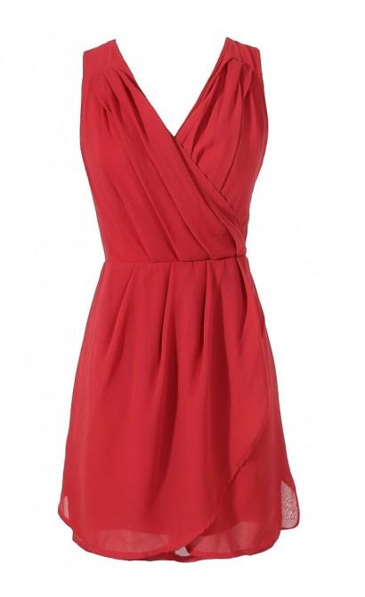 Red Chiffon Cocktail Dress, Red Chiffon Party Dress, Bright Red Chiffon Tulip Dress, Cute Juniors Dress