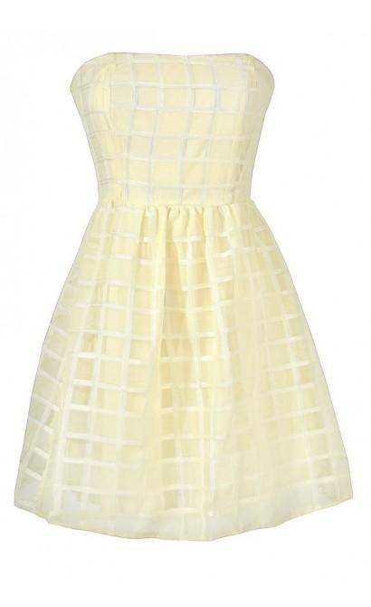 Cute Juniors Dress, Ivory Checkered Dress, Cute Ivory Strapless Dress, Ivory Rehearsal Dinner Dress