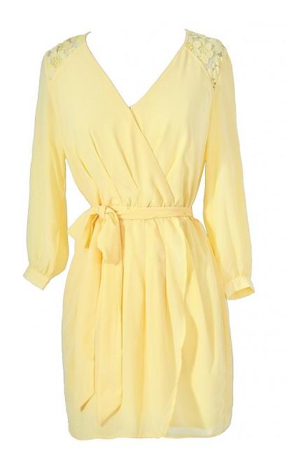 Bright Yellow Summer Dress, Cute Juniors Dress, Yellow Wrap Dress