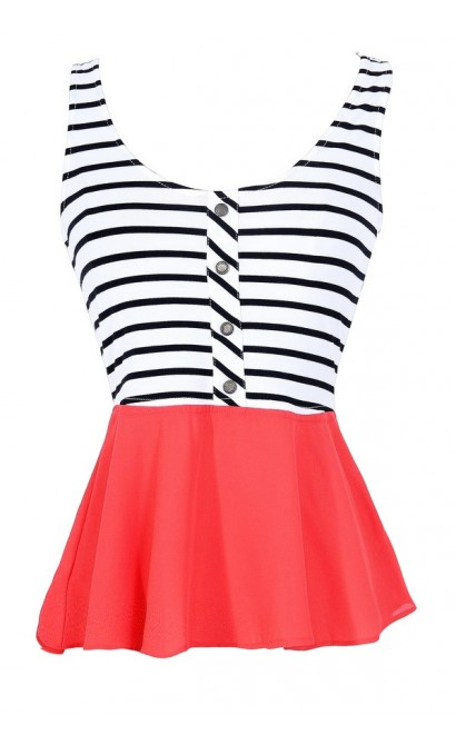 Aye Captain Striped Peplum Top in Coral Red/White