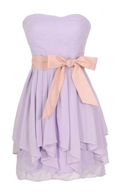 Lavender Purple and Pink Chiffon Ruffle Party Dress, Lavender Purple Chiffon Bridesmaid Dress, Lavender Purple Ruffle Dress