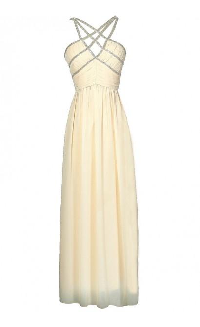 Beige Embellished Maxi Dress, Cute Ivory Beaded Prom Maxi Dress, Formal Beige Embellished Dress
