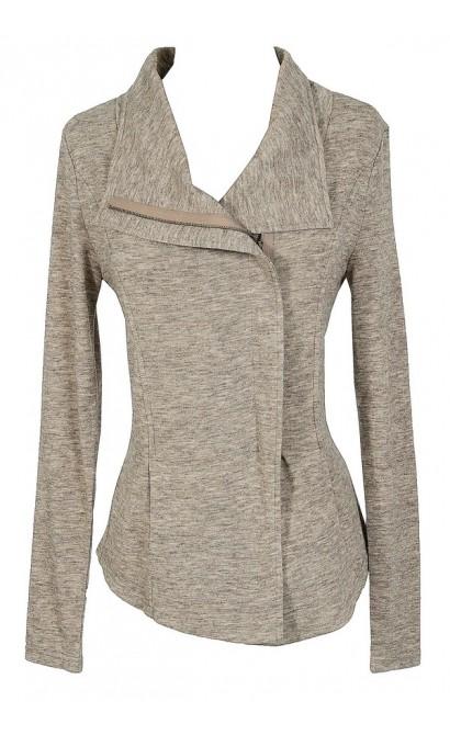 Cute Beige Cardigan Sweater, Beige Crossover Jacket, Cute Casual Beige Sweater