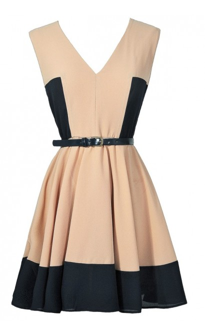 Beige and Navy Colorblock Dress, Navy and Taupe A-Line Dress, Navy and Beige Belted Colorblock Dress