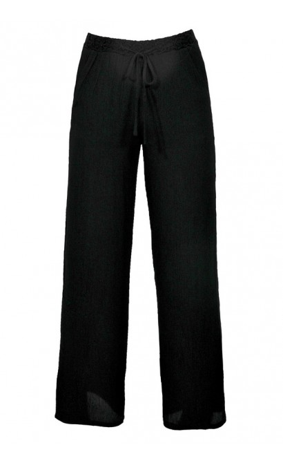 Cute Black Palazzo Pants, Black Wide Leg Palazzo Pants, Black Pants Beach Coverup