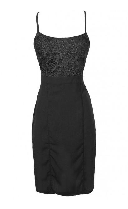 Black Lace Cocktail Dress, Cute Black Lace Pencil Dress, Black Crochet Lace Pencil Dress