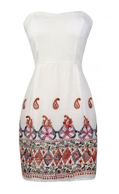 White Embroidered Dress, Embroidered Boho Dress, Cute Summer Dress, Embroidered Summer Dress, Boho Embroidered Dress
