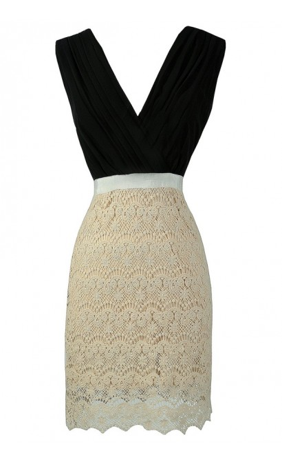 Black and Ivory Crochet Lace Dress, Cute Black and Ivory Pencil Dress, Black and Cream Pencil Dress, Cute Black and Cream Work Dress