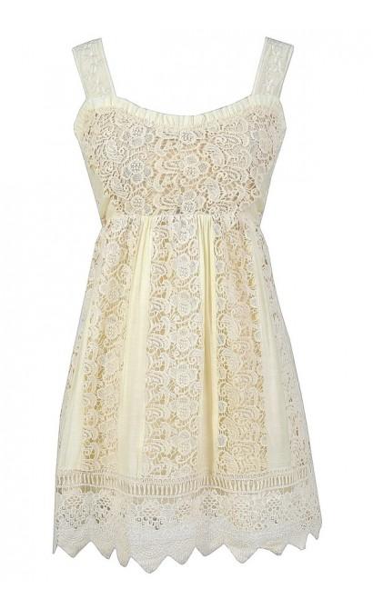 Cute Summer Dress, Beige Crochet Lace Dress, Crochet Lace Babydoll Dress, Cute Festival Dress, Crochet Hippie Dress, Beige Boho Dress, Crochet Lace Babydoll Dress