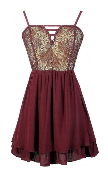 Burgundy Lace Party Dress, Wine Studded Dress, Cute Wine Lace Dress, Burgundy Party Dress, Cute Wine Dress, Cute Juniors Dress