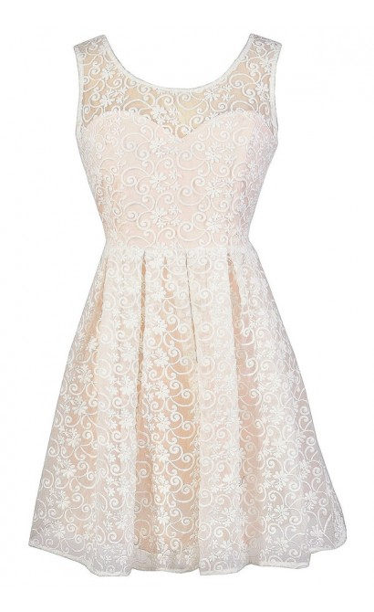 Ivory Lace Dress, Lace Rehearsal Dinner Dress, Lace Bridal Shower Dress, Champagne Lace A-Line Dress, Cute Summer Dress
