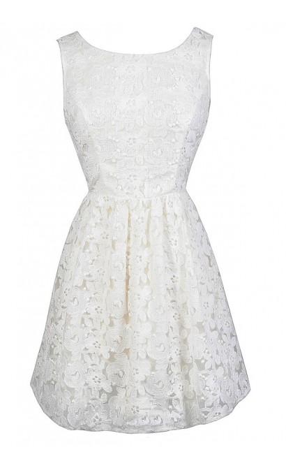 White Lace Open Back Dress, White Lace Rehearsal Dinner Dress, Lace A-Line Dress, White Lace Summer Dress, Lace Bridal Shower Dress