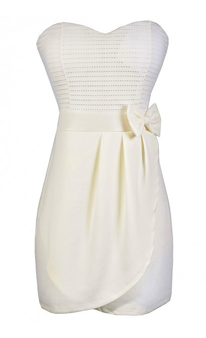 Off White Bow Dress, Off White Strapless Rehearsal Dinner Dress, Ivory Bow Strapless Dress, Cute Ivory Summer Dress, Ivory Party Dress
