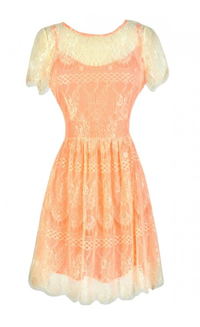 Neon Coral and Lace Dress, Cute Neon Dress, Coral and Ivory Dress, Cute Coral Dress, Ivory and Neon Orange Coral Dress, Coral Juniors Dress, Cute Summer Dress