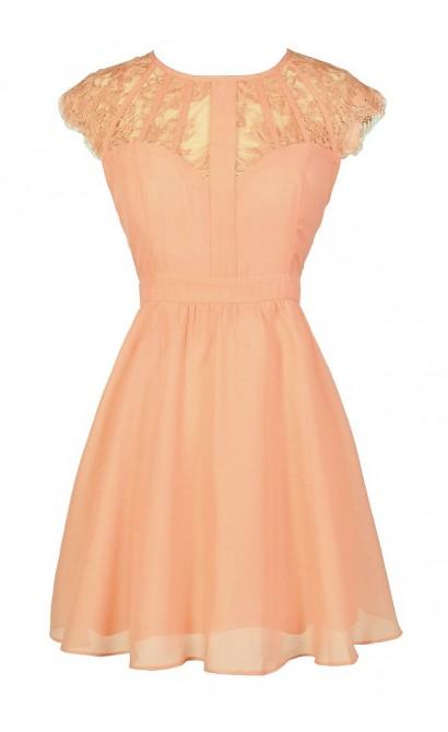 Cute Lace Dress, Cute Peach Dress, Peach Lace Dress, Cute Summer Dress, Peach Lace A-Line Dress, Peach Sundress