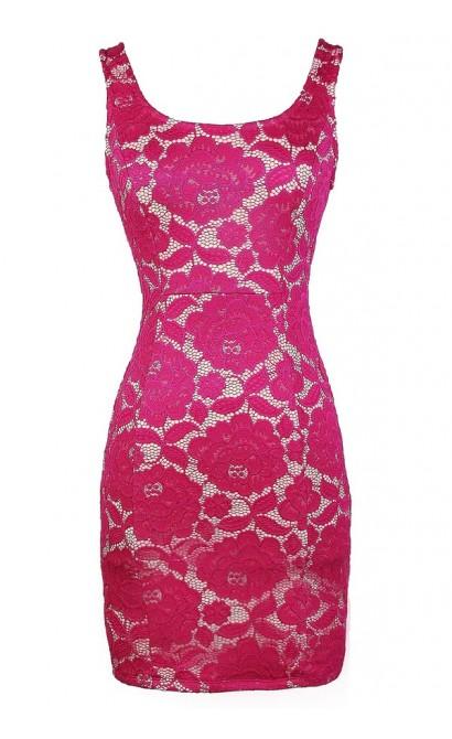 Magenta Lace Dress, Lace Pencil Dress, Cute Magenta Dress, Magenta Lace Dress, Cute Pink Lace Pencil Dress, Pink Lace Bodycon Dress, Fitted Magenta Lace Pencil Dress