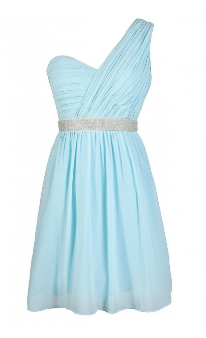 Blue One Shoulder Dress, Pale Blue Beaded Prom Dress, Pale Blue One Shoulder Embellished Dress, Sky Blue Beaded One Shoulder Dress, Sky Blue Prom Dress